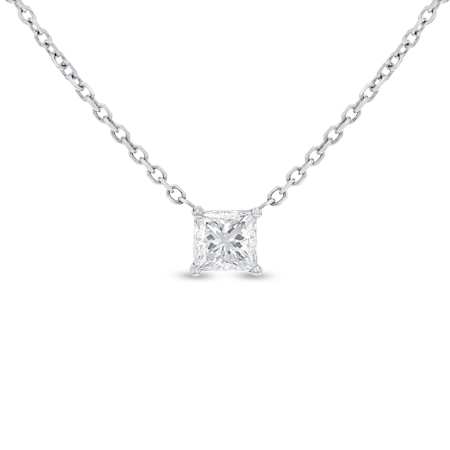 Princess Cut Diamond Solitaire Pendant - R&R Jewelers