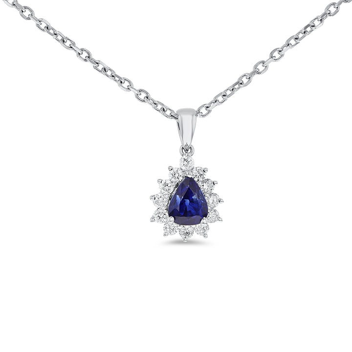 18K White Gold Sapphire and Diamond PENDANTS, 1.32 Carats