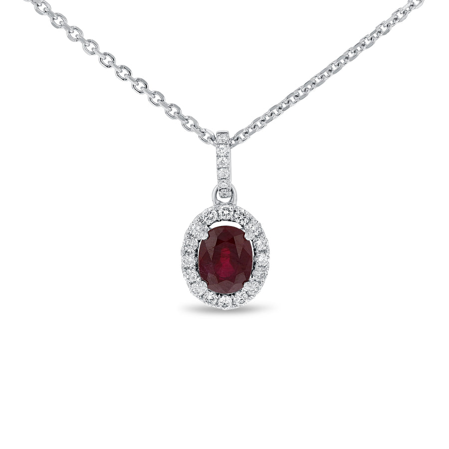 Ruby Halo Drop Pendant - R&R Jewelers