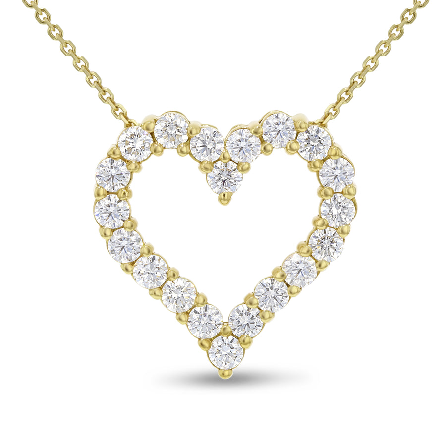18K Yellow Gold Diamond Heart Pendant, 2.42 Carats