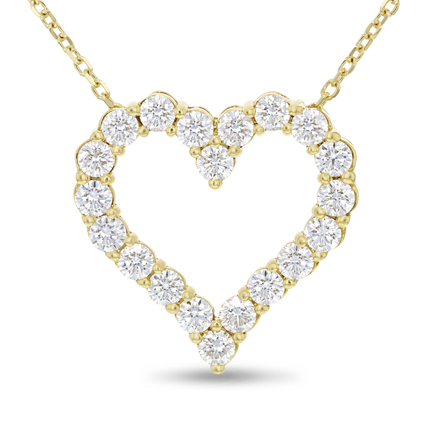 18K Yellow Gold Diamond Heart Pendant, 3.32 Carats