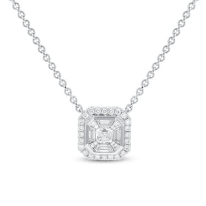 18K White Gold Diamond Pendant, 0.83 Carats