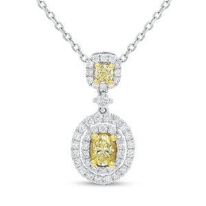 18K Two Tone Gold Diamond and Diamond Pendant, 1.38 Carats