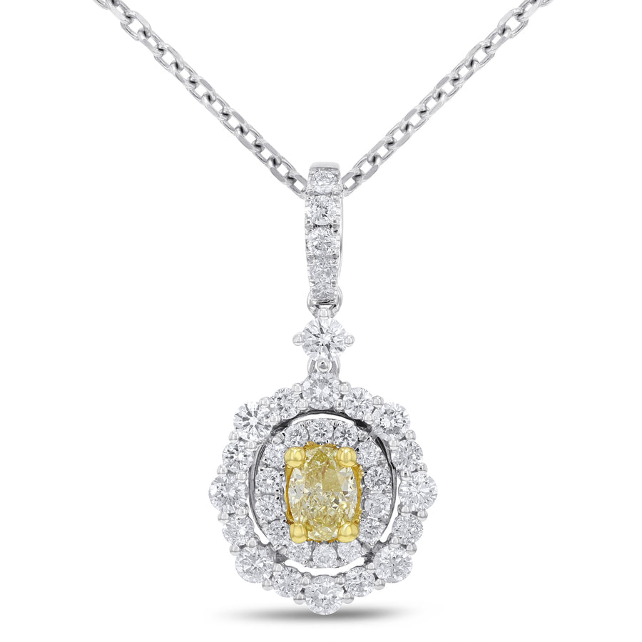 Yellow Diamond Halo Pendant - R&R Jewelers