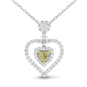 18K Two Tone Gold Diamond Heart Pendant, 1.53 Carats