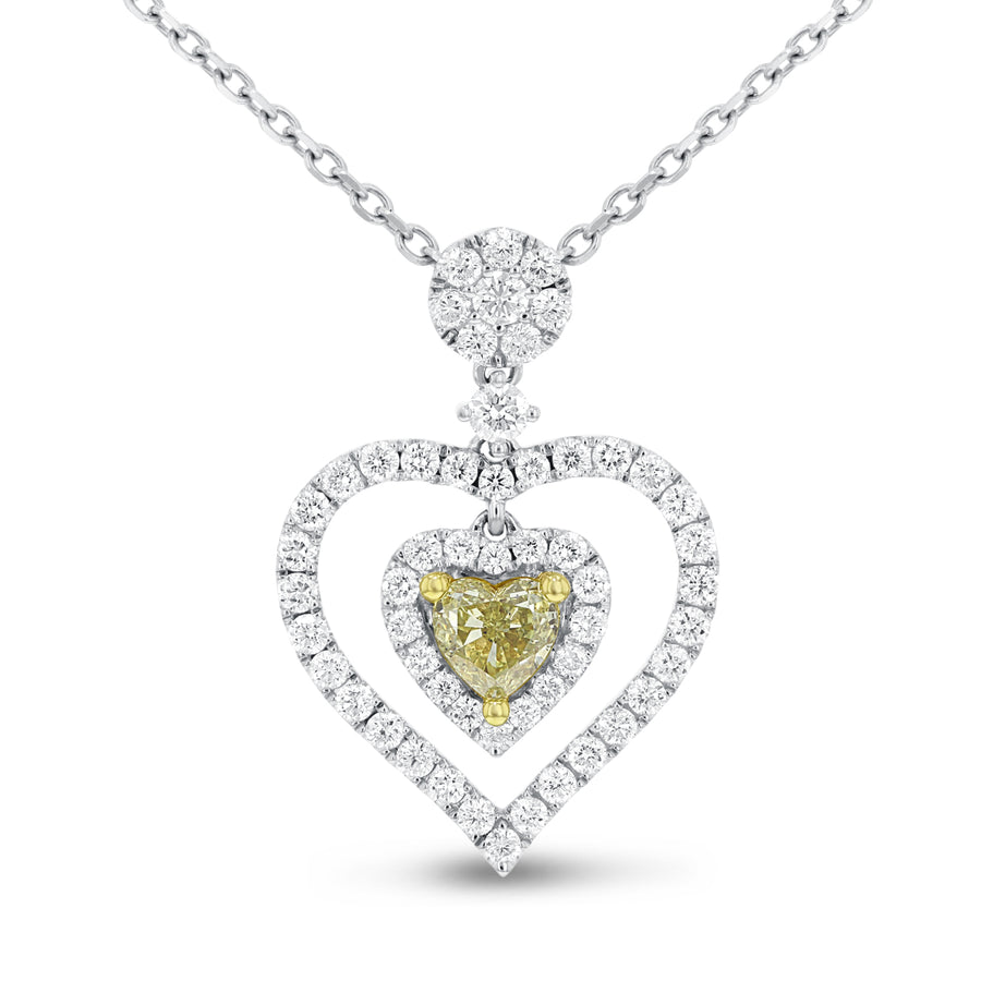 Yellow Diamond Heart Pendant - R&R Jewelers