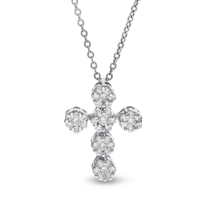 18K White Gold Cross Pendant, 0.44 Carats