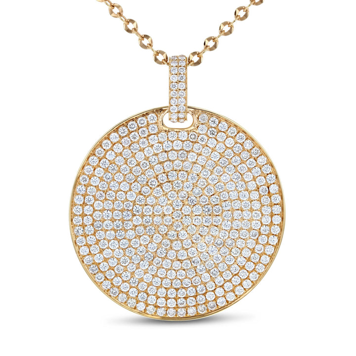 18K Rose Gold Diamond Disc Pendant, 4.45 Carats