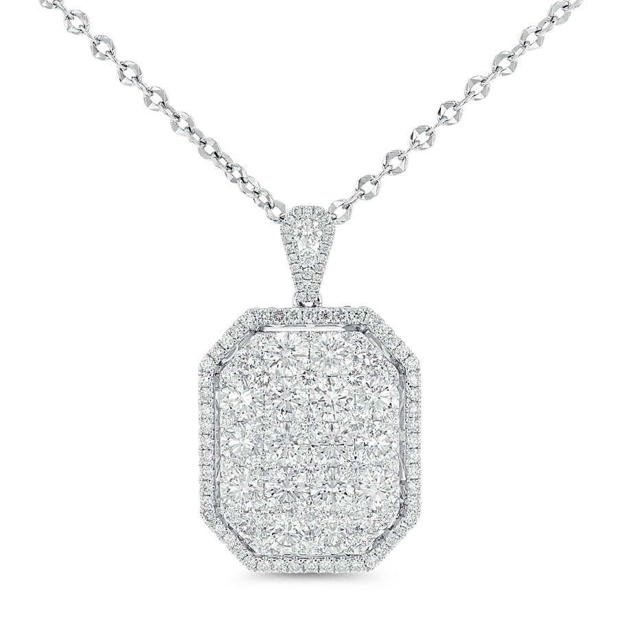 18K White Gold Diamond Pendant, 6.68 Carats