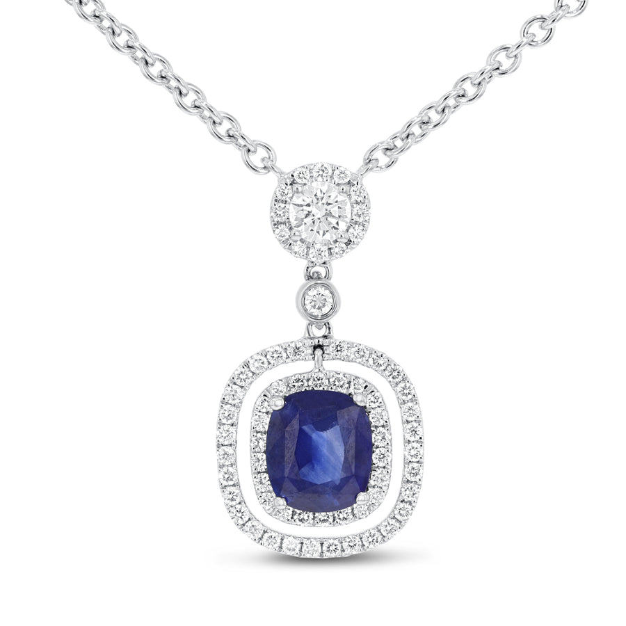 18K White Gold Sapphire and Diamond Pendant, 2.27 Carats