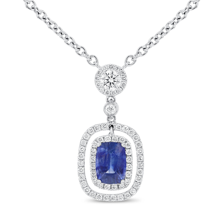 18K White Gold Sapphire and Diamond Pendant, 2.02 Carats