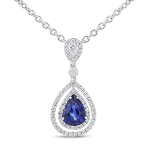 Double Halo Sapphire Drop Pendant - R&R Jewelers