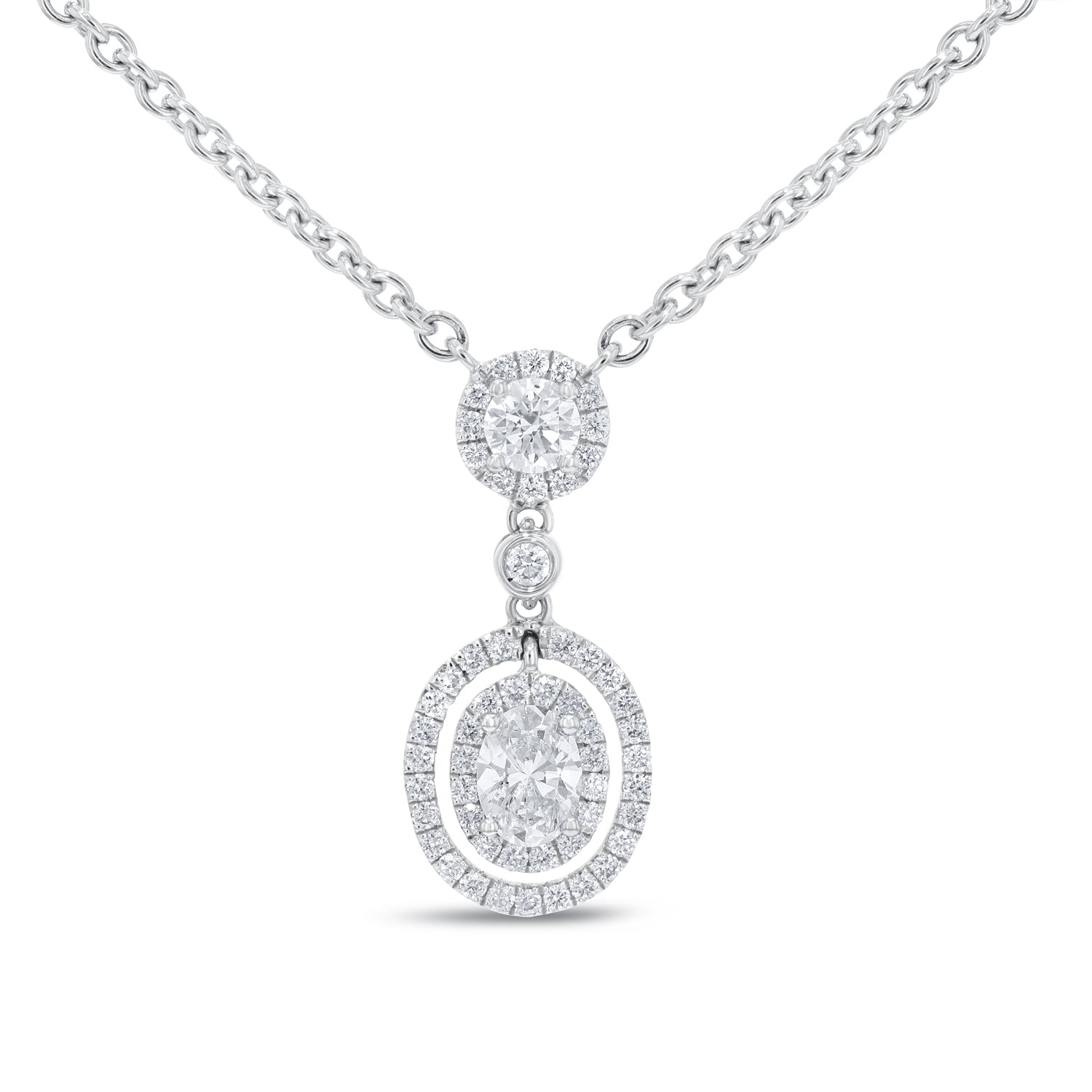 18K White Gold Diamond Pendant, 1.41 Carats