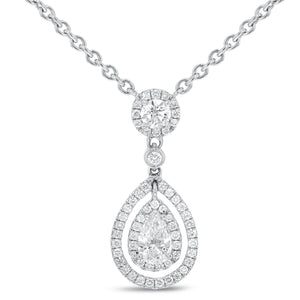 18K White Gold Diamond Pendant, 1.27 Carats