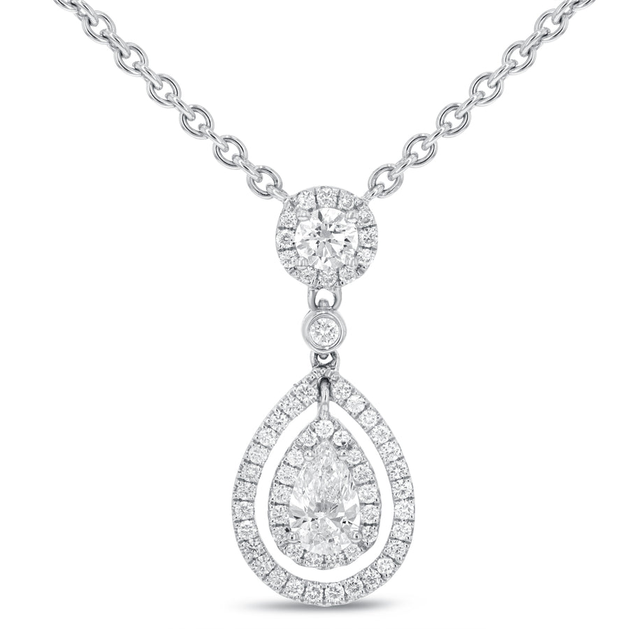 18K White Gold Diamond Pendant, 1.27 Carats - R&R Jewelers