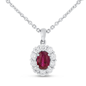 18K White Gold Diamond and Gem Pendant, 1.71 Carats