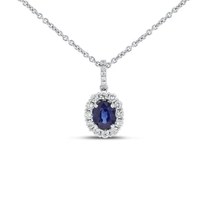 18K White Gold Sapphire and Diamond PENDANTS, 1.76 Carats