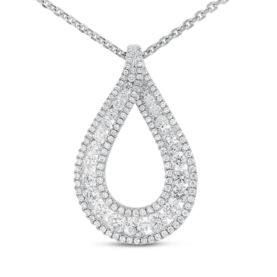 18K White Gold Diamond Pendant, 1.63 Carats - R&R Jewelers