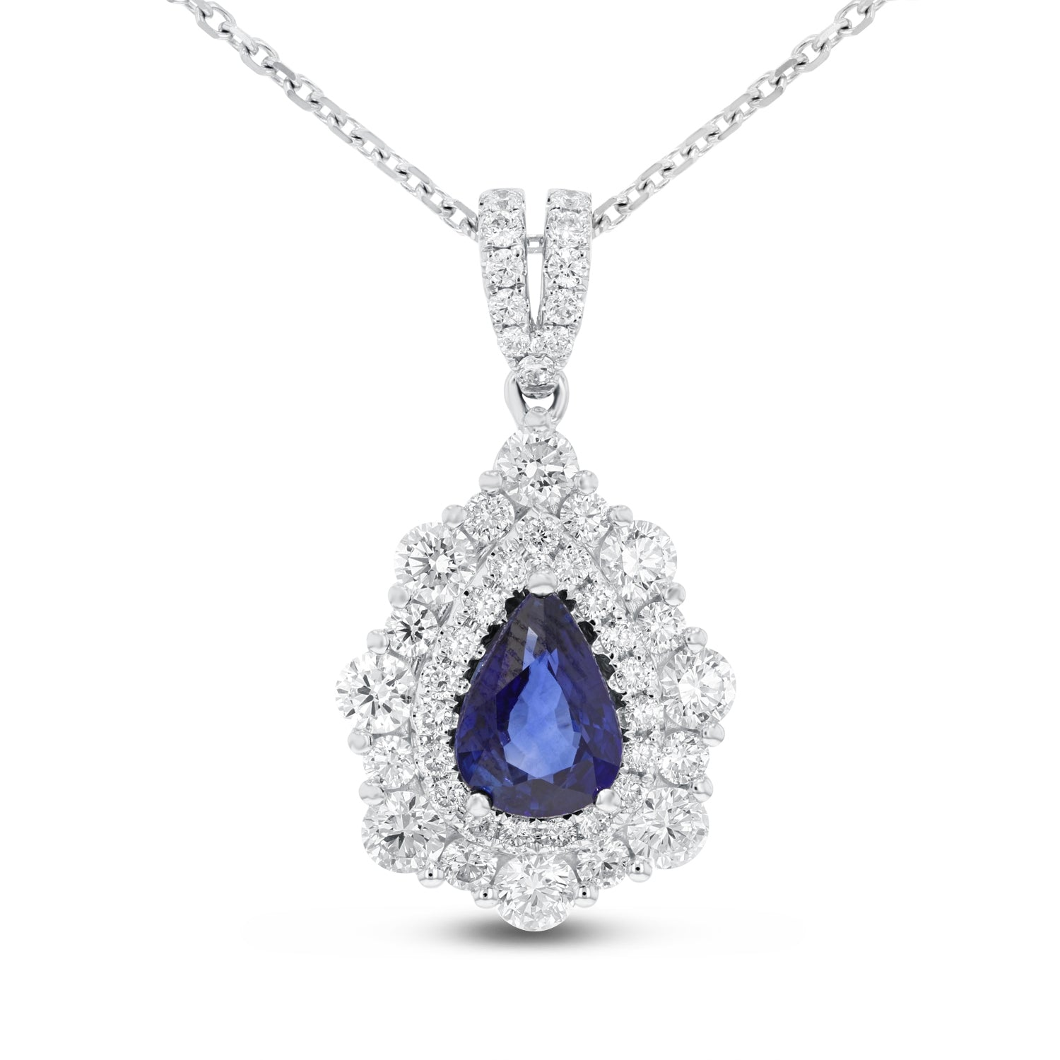 18K White Gold Diamond and Gem Pendant, 2.87 Carats