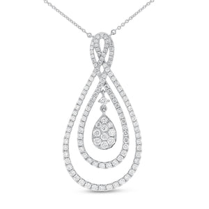 18K White Gold Diamond Pendant, 1.65 Carats - R&R Jewelers
