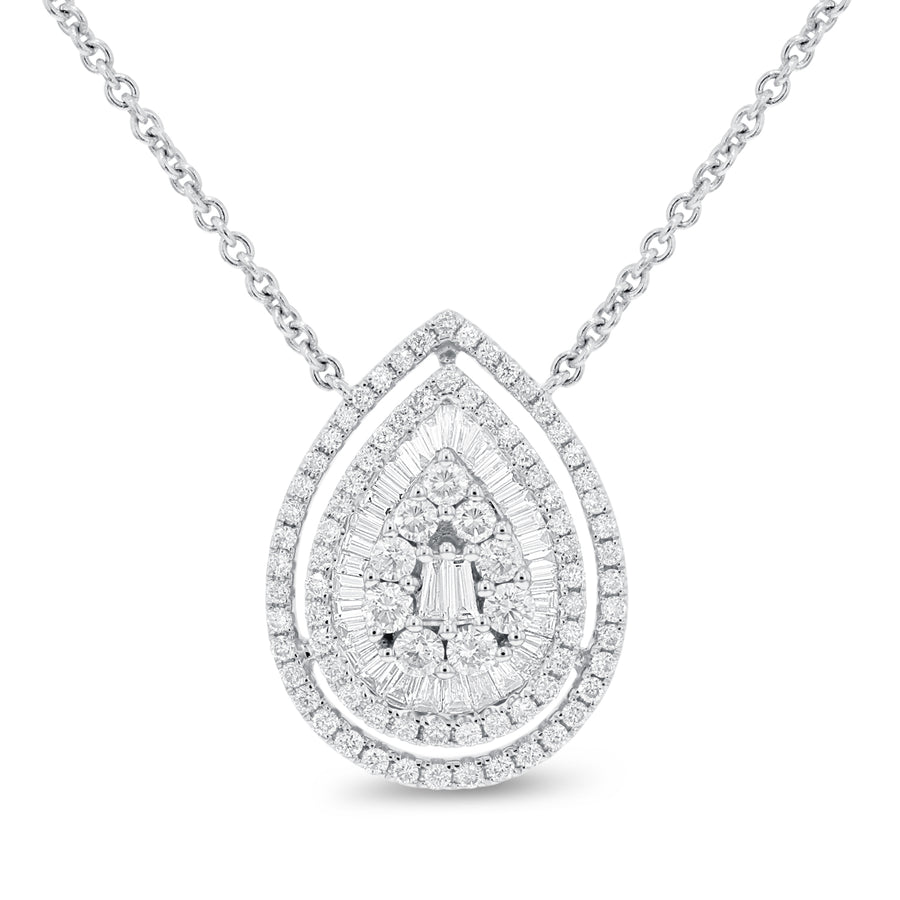 18K White Gold Diamond Pendant, 1.29 Carats - R&R Jewelers
