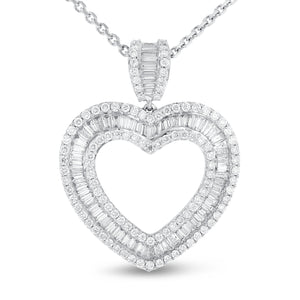 Baguette and Round Diamond Heart Pendant - R&R Jewelers