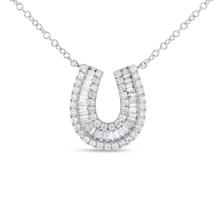 Baguette and Round Diamond Horseshoe Pendant - R&R Jewelers