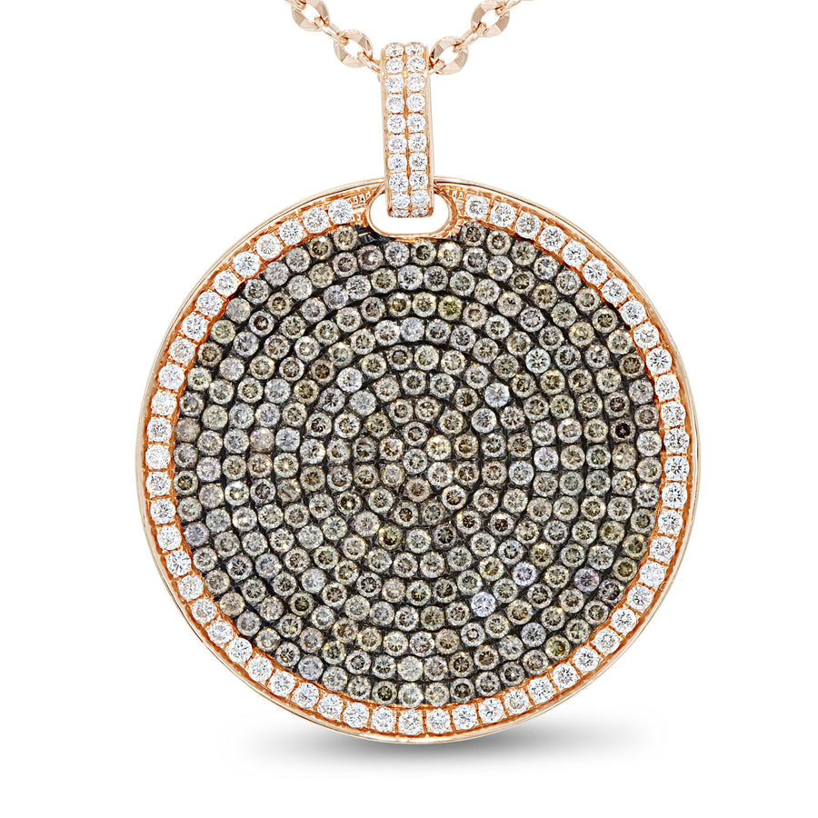 Champagne Diamond Disc Pendant, 4.93 Carats - R&R Jewelers