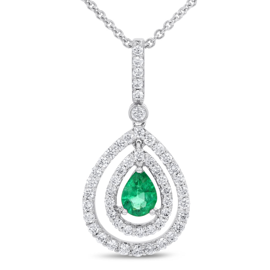 Double Halo Diamond and Emerald Pendant - R&R Jewelers