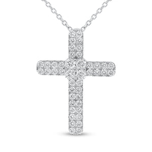 18K White Gold Cross Pendant, 1.48 Carats - R&R Jewelers