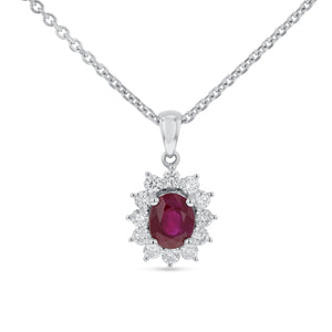 18K White Gold Diamond and Gem Pendant, 1.59 Carats - R&R Jewelers
