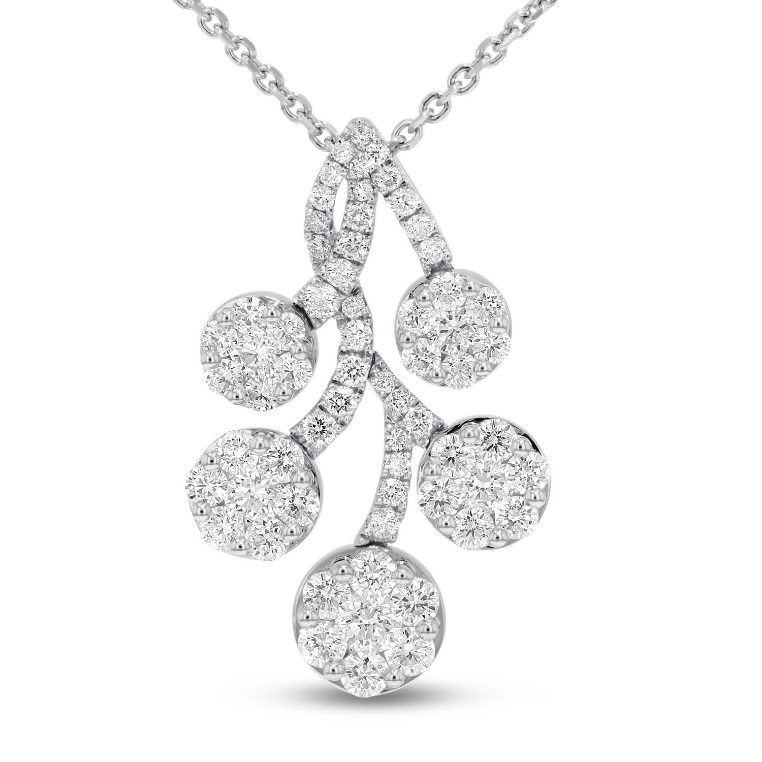 18K White Gold Diamond Pendant, 2.59 Carats