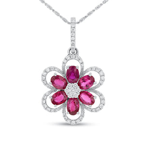 18K White Gold Diamond and Gem Pendant, 3.00 Carats - R&R Jewelers