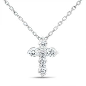 18K White Gold Cross Pendant, 0.45 Carats