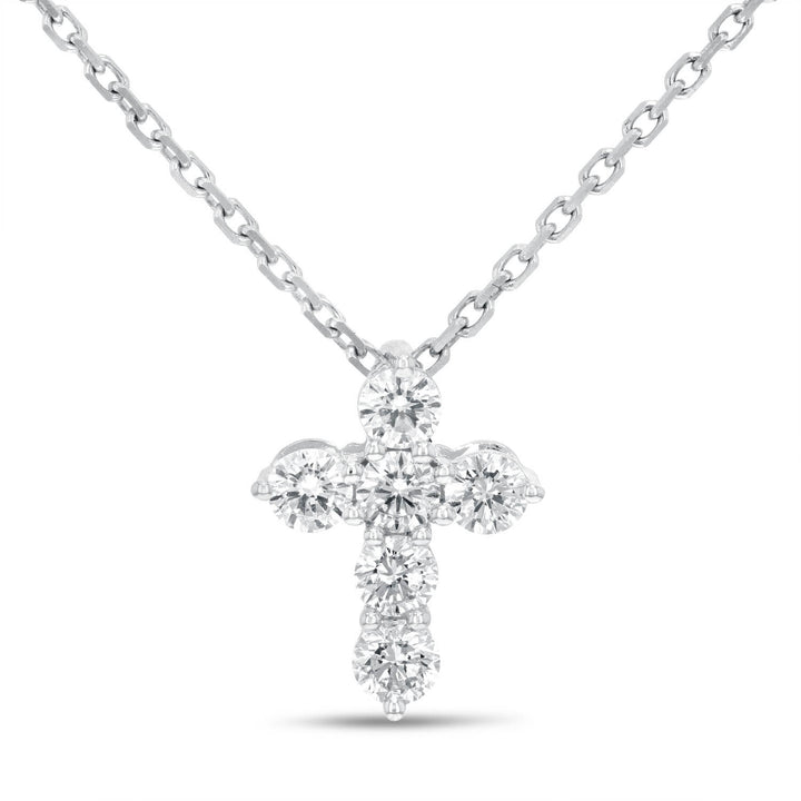Round Brilliant Diamond Cross Pendant, 0.45 Carats - R&R Jewelers