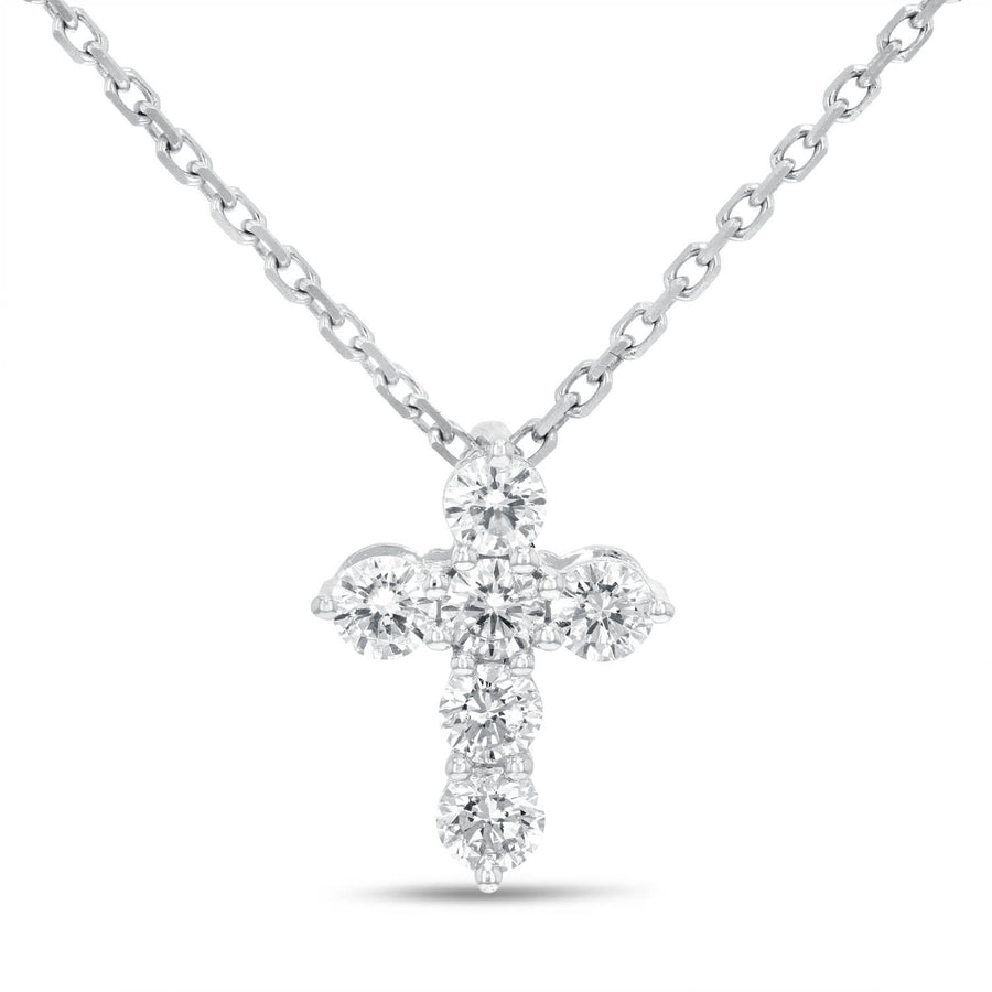 18K White Gold Cross Pendant, 0.45 Carats - R&R Jewelers