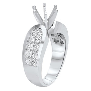 18K White Gold Semi-mount Ring, 1.86 Carats