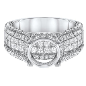 18K White Gold Semi-mount Ring, 2.24 Carats