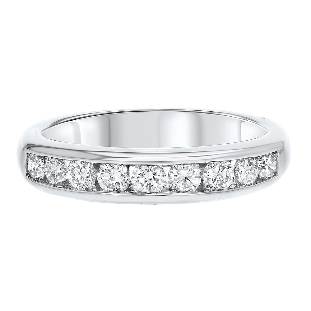 18K White Gold Diamond Wedding Band, 0.63 Carats