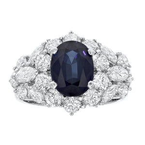 18K White Gold Sapphire and Diamond Ring, 5.27 Carats