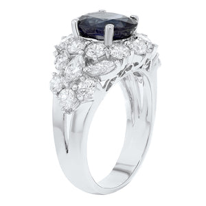 18K White Gold Diamond and Gemstone Ring, 5.27 Carats