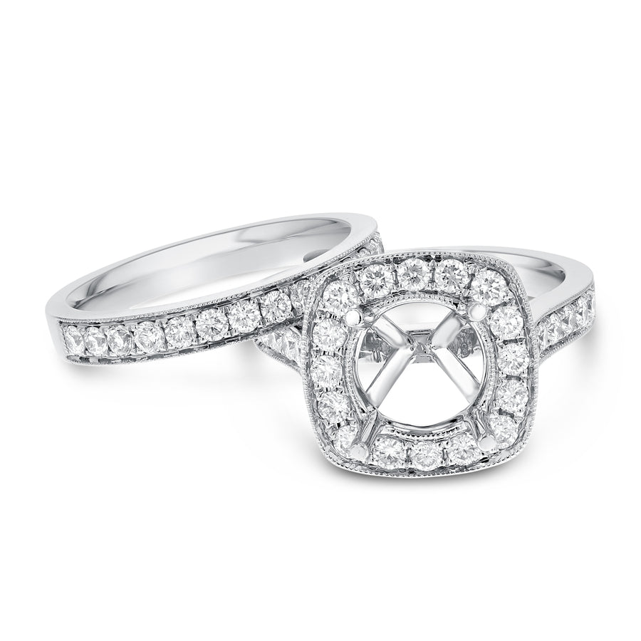 18K White Gold Wedding and Engagement Ring Set, 1.27 Carats