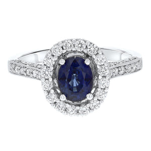 18K White Gold Sapphire and Diamond Ring, 2.00 Carats