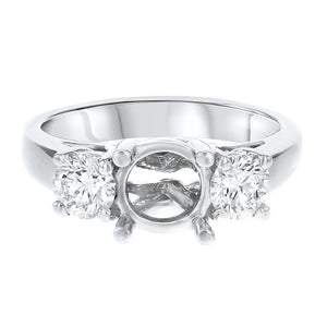 Three Stone Diamond Semi-Mount Ring in Platinum - R&R Jewelers