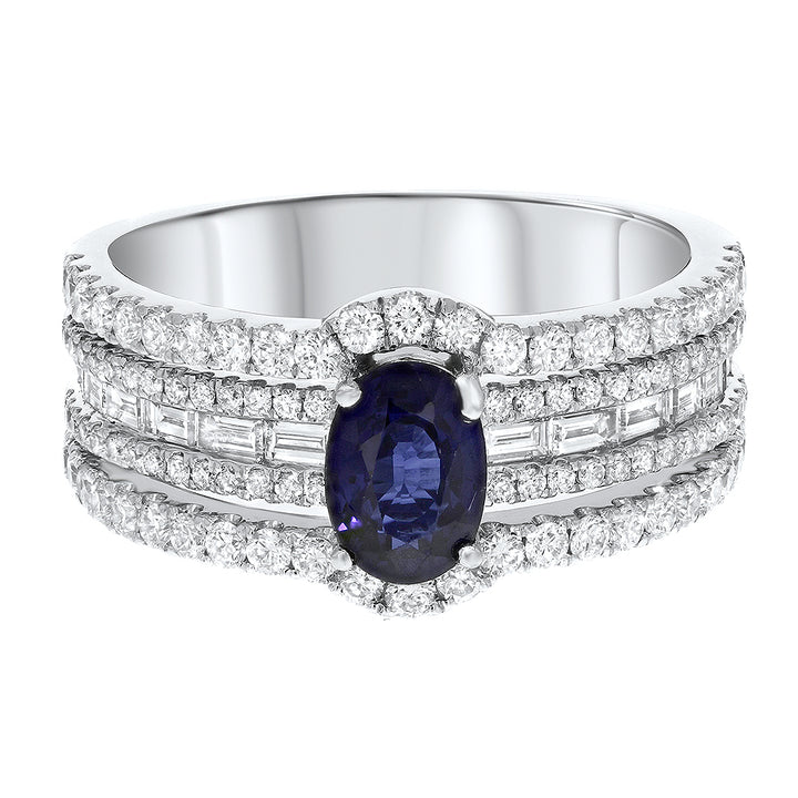 Five Row Diamond and Sapphire Fashion Ring - R&R Jewelers