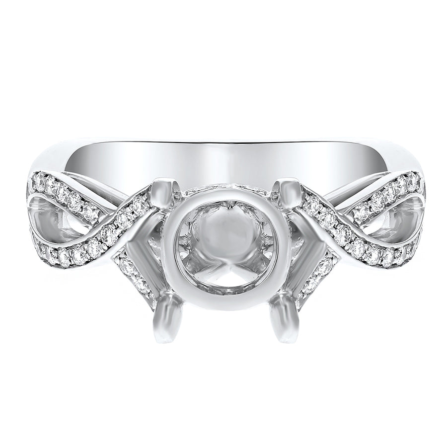 Diamond Infinity Semi Mount Ring in Platinum - R&R Jewelers