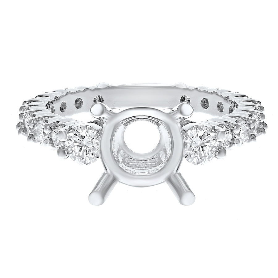 18K White Gold Semi-mount Ring, 1.18 Carats
