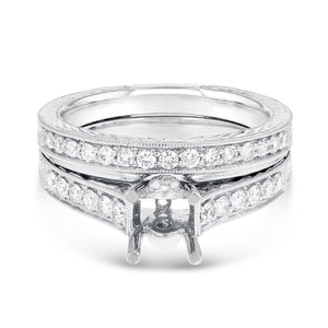 18K White Gold Wedding and Engagement Ring Set, 0.53 Carats