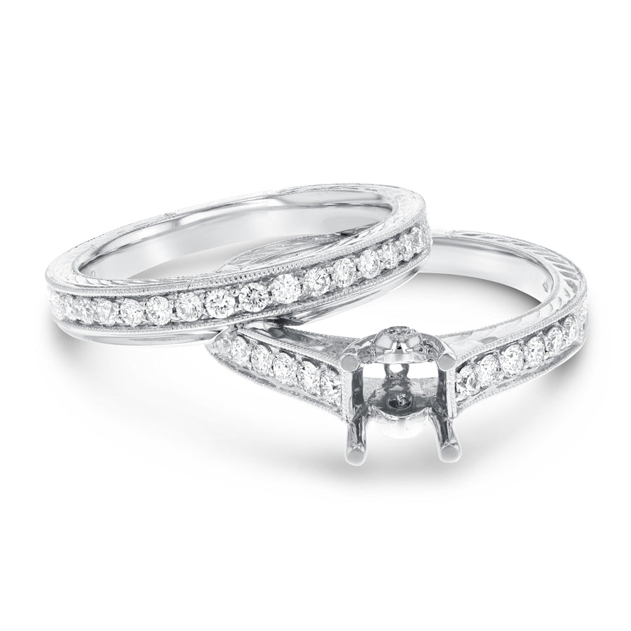 18K White Gold Wedding and Engagement Ring Set, 0.53 Carats - R&R Jewelers