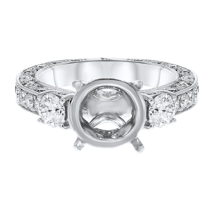 18K White Gold Semi-mount Ring, 1.28 Carats - R&R Jewelers